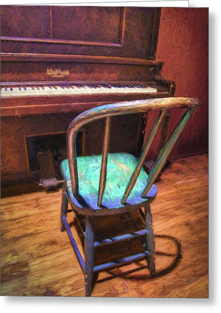 Piano And Chair - Vintage Greeting Card by Nikolyn McDonald
