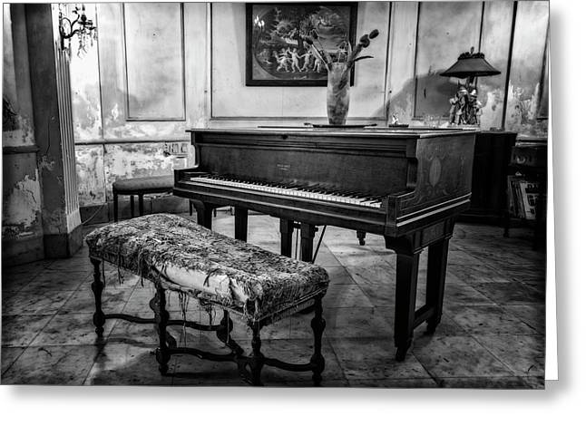Greeting Card featuring the photograph Piano At Josie's House Bw by Joan Carroll