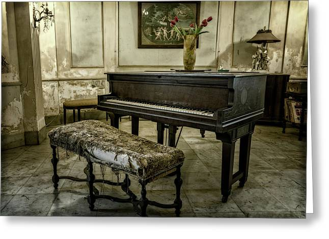 Greeting Card featuring the photograph Piano At Josie's House by Joan Carroll