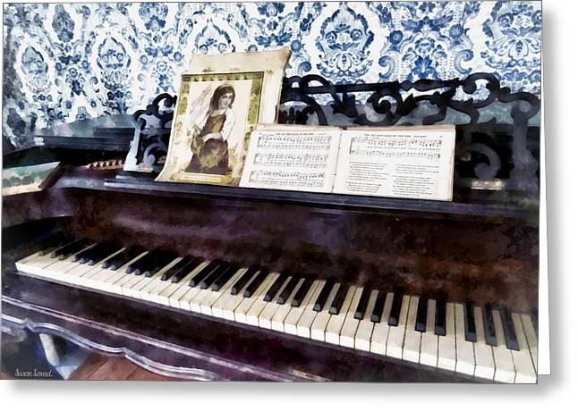 Piano Closeup Greeting Card by Susan Savad