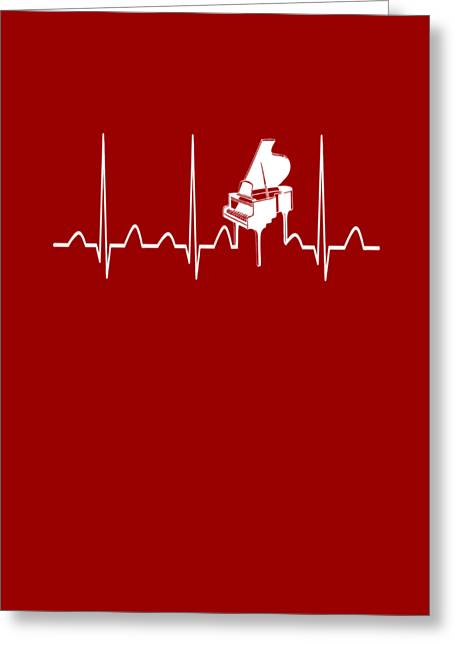 Piano Heartbeat Greeting Card by Sophia