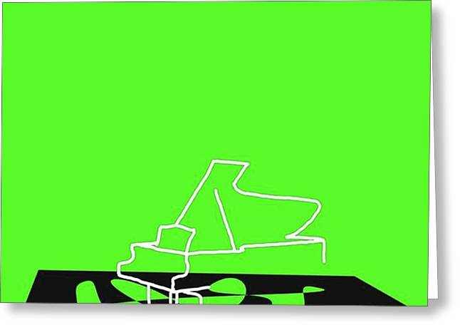 Piano In Green Prints Available At Greeting Card by David Bridburg