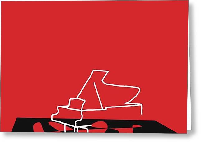 Piano In Red Prints Available At Greeting Card by David Bridburg