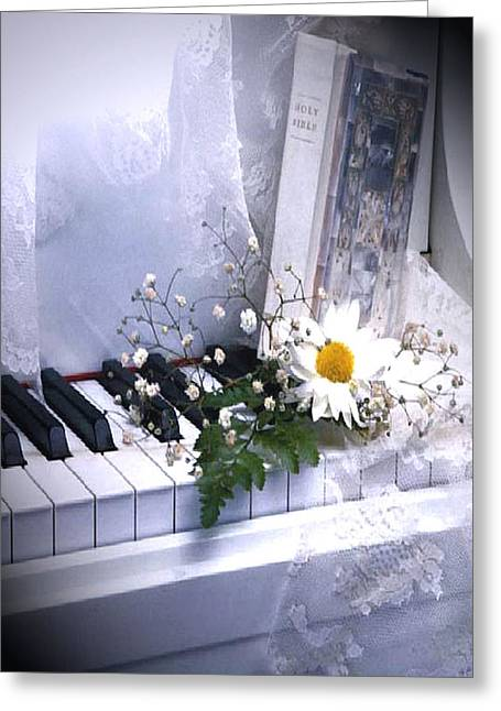 Piano Greeting Card by Kenneth Lambert