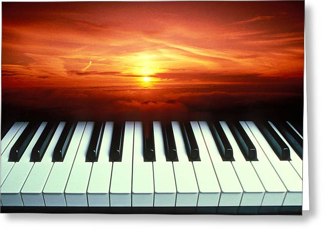 Piano Keys Sunset Greeting Card by Garry Gay