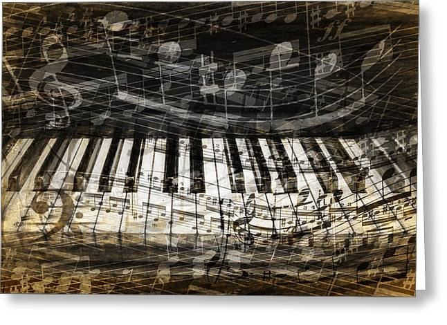 Piano Keys With With Musical Notes Greeting Card by Randall Nyhof