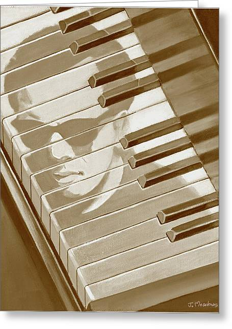 Greeting Card featuring the painting Piano Man In Sepia by J L Meadows