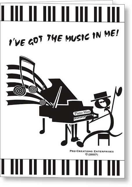 Piano Man Greeting Card by Maria Watt