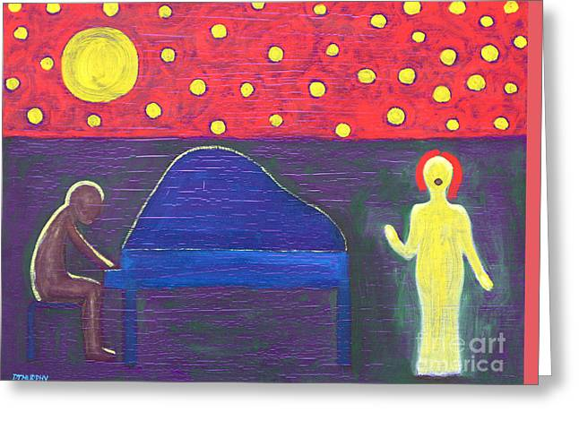 Piano Player And Singer Greeting Card by Patrick J Murphy