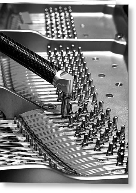 Piano Tuning Bw Greeting Card