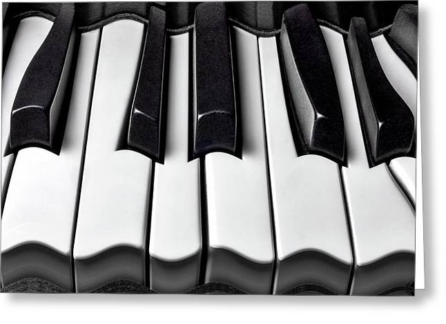 Piano Wave Black And White Greeting Card by Garry Gay