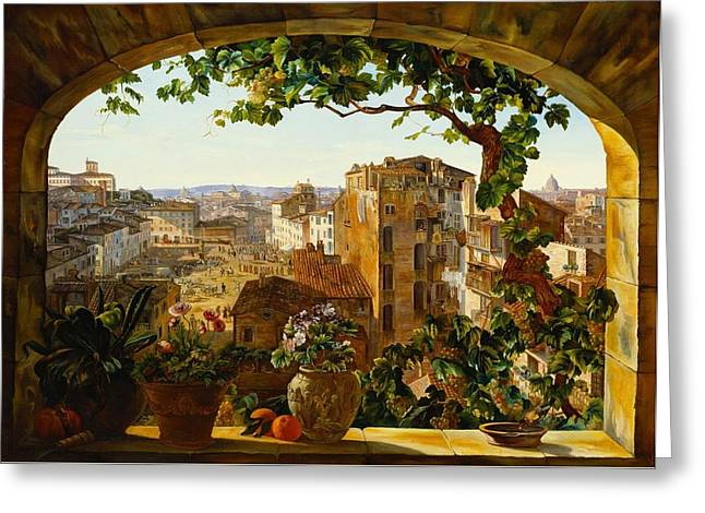 Piazza Barberini Rome Greeting Card by Mountain Dreams