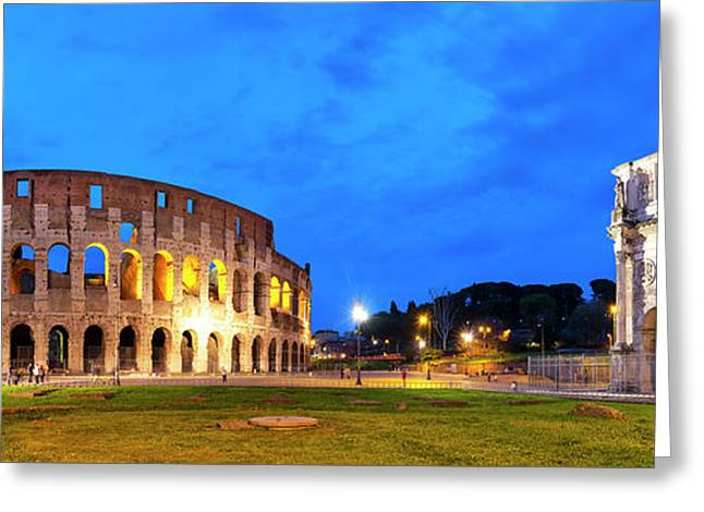 Greeting Card featuring the photograph Piazza Del Colosseo by Fabrizio Troiani