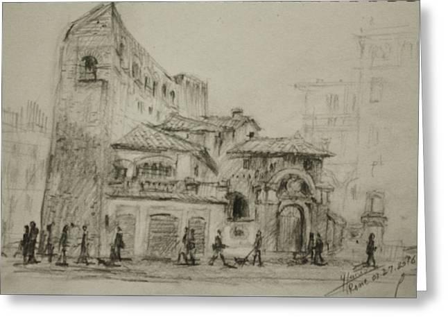 Piazza Fiume Rome Greeting Card by Ylli Haruni