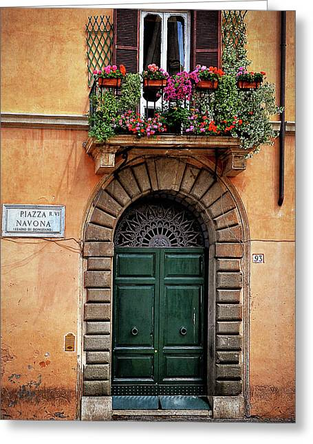 Greeting Card featuring the photograph Piazza Navona House by Marion McCristall