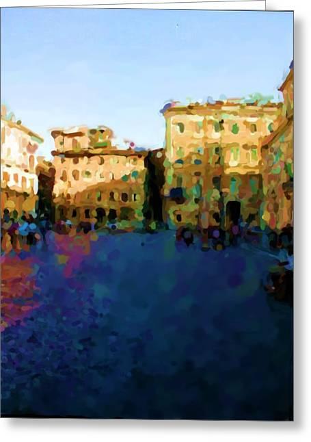 Piazza Navona In Rome Greeting Card by Asbjorn Lonvig