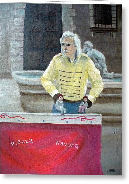 Piazza Puppeteer Greeting Card by Joe Lanni