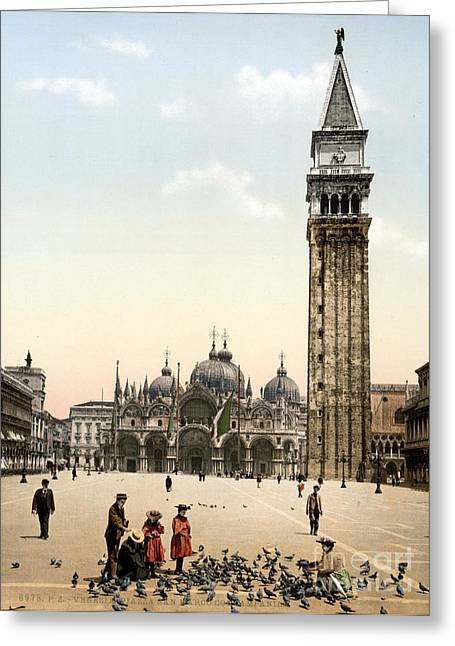 Piazza San Marco, 1890s Greeting Card by Science Source