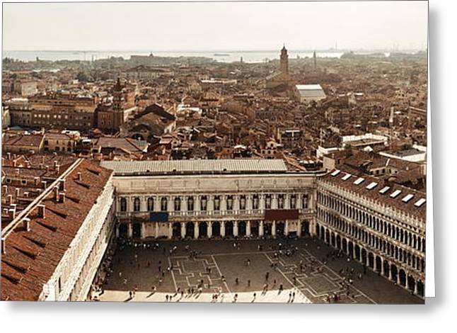 Greeting Card featuring the photograph Piazza San Marco Bell Tower Panorama View by Songquan Deng