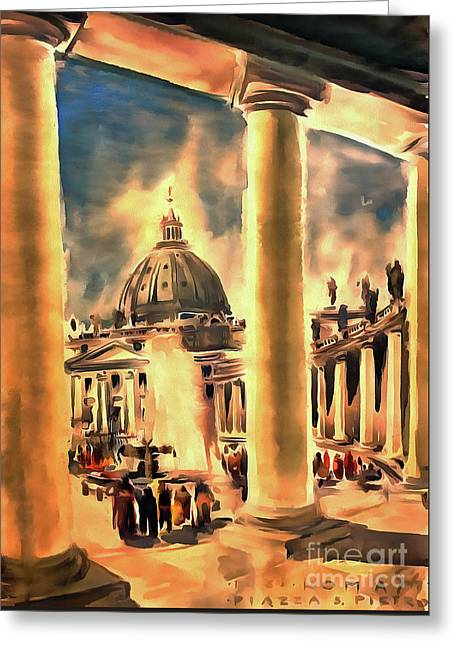 Piazza San Pietro In Roma Italy Greeting Card