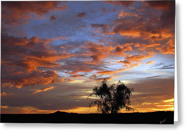 Picacho Peak Sunset II Greeting Card by Kurt Van Wagner