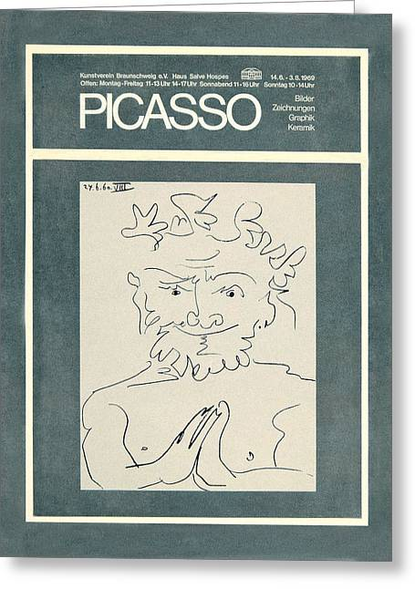 Picasso Exhibition Poster 2 Greeting Card by Andrew Fare