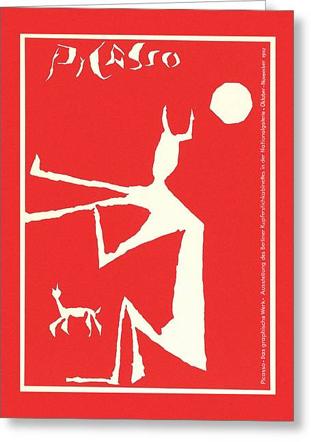 Picasso Exhibition Poster 3 Greeting Card by Andrew Fare