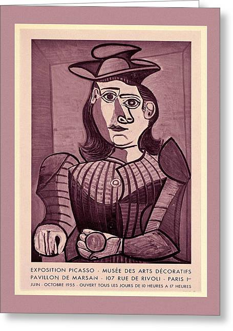 Picasso Exhibition Poster 4 Greeting Card by Andrew Fare