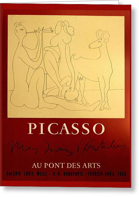 Picasso Exhibition Poster 7 Greeting Card by Andrew Fare