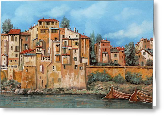 Piccole Case Sul Fiume Greeting Card by Guido Borelli