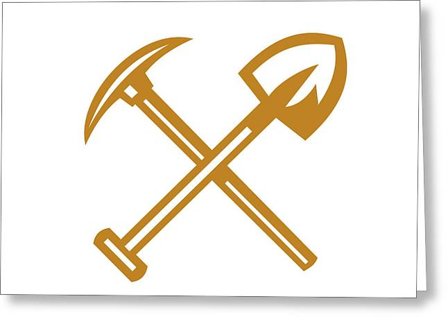Pick Axe Shovel Crossed Retro Greeting Card by Aloysius Patrimonio
