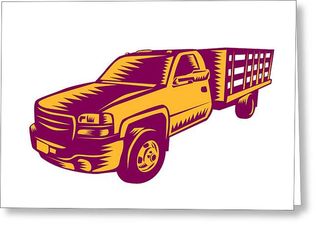 Pick-up Truck Woodcut Greeting Card by Aloysius Patrimonio