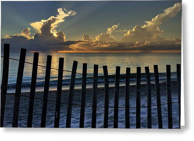 Picket Fence On The Beach Greeting Card