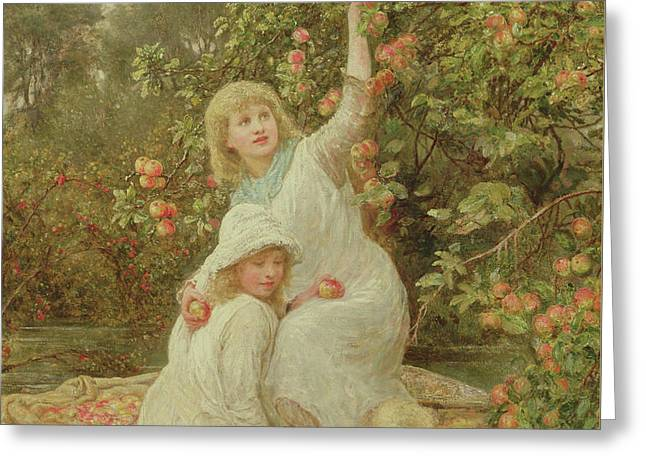 Picking Apples Greeting Card by Frederick Morgan