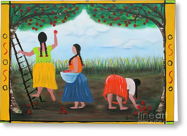 Picking Apples Greeting Card by Sonia Flores Ruiz