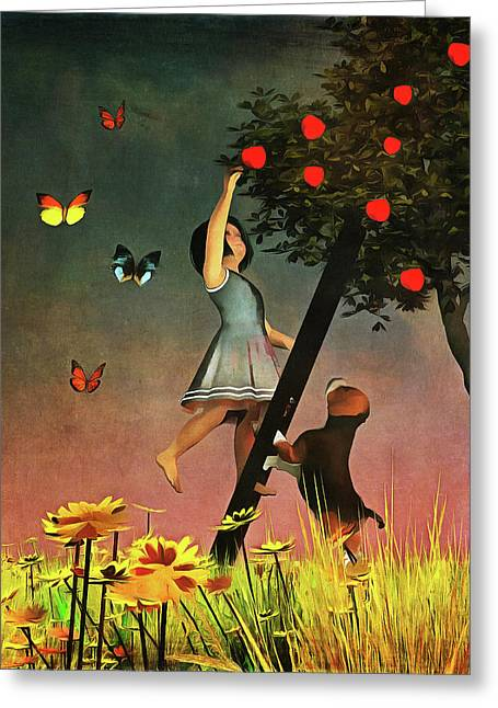 Greeting Card featuring the painting Picking Apples Together by Jan Keteleer