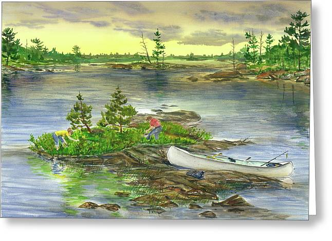 Boundary Waters Paintings Greeting Cards - Picking Blueberry Island Greeting Card by Bud Bullivant