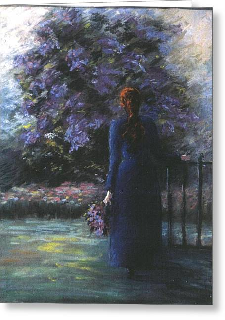 Lilac Pastels Greeting Cards - Picking Lilacs Greeting Card by Pat Snook