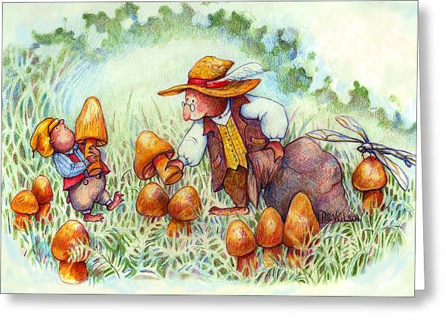 Picking Mushrooms Greeting Card by Peggy Wilson