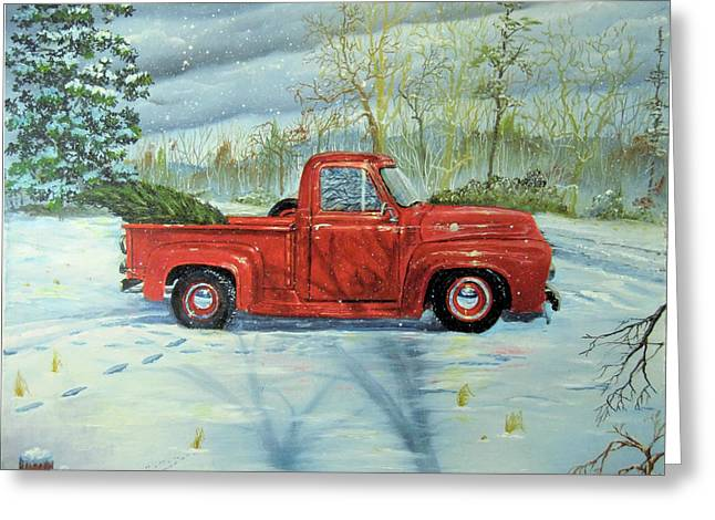Picking Up The Christmas Tree Greeting Card