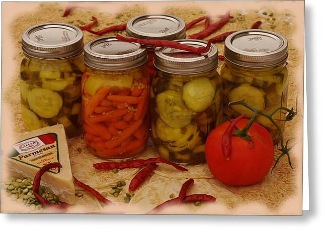 Pickled Still Life Greeting Card by Lori Kingston