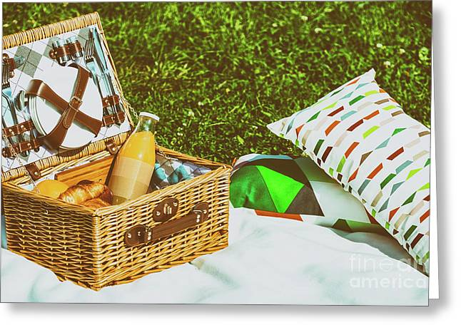 Picnic Basket Food On White Blanket With Pillows In Summer Greeting Card by Radu Bercan