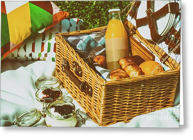 Picnic Basket With Fruits, Orange Juice, Croissants And No Bake Blueberry And Strawberry Jam Greeting Card by Radu Bercan