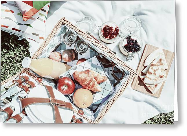 Picnic Basket With Fruits, Orange Juice, Croissants, Quesadilla And No Bake Blueberry And Strawberry Greeting Card by Radu Bercan