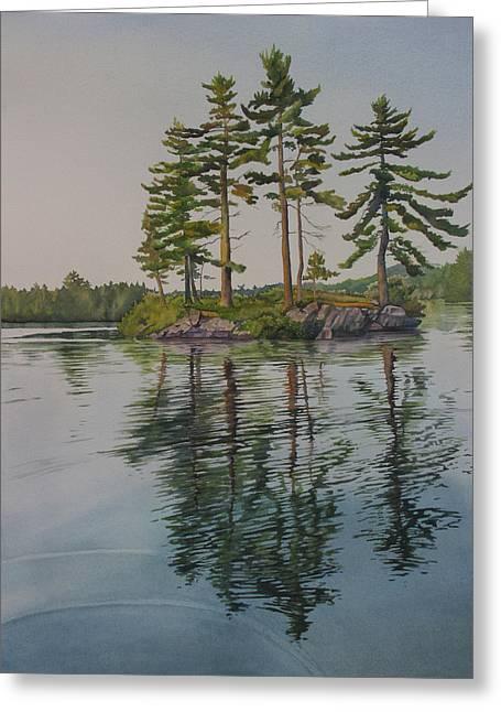 Picnic Island At Dawn Greeting Card by Debbie Homewood