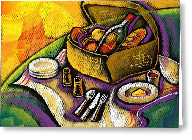 Visual Art Greeting Cards - Picnic Greeting Card by Leon Zernitsky