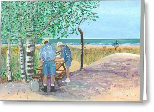 Picnic On Lake Huron - Painting Greeting Card