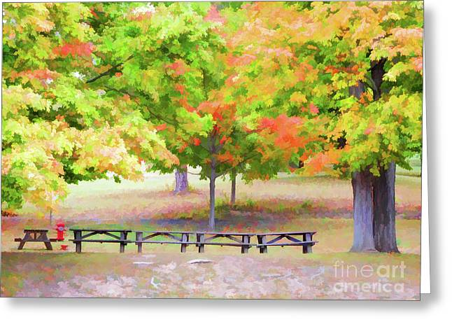 Picnic Tables On Olana 2 Greeting Card by Lanjee Chee