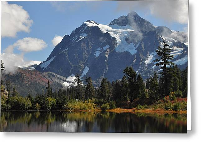 Picture Lake And Mount Shuksan Greeting Card by Lynn Bawden