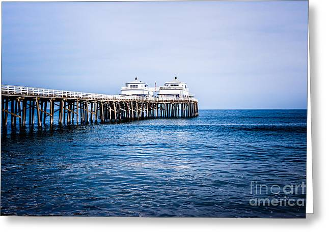 Picture Of Malibu Pier In Southern California Greeting Card by Paul Velgos